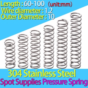 Compression Spring  60-100 mm 304 Stainless Steel The Coil Spring Pressure Spring Return Spring Wire Diameter:1.2mm OD:10mm