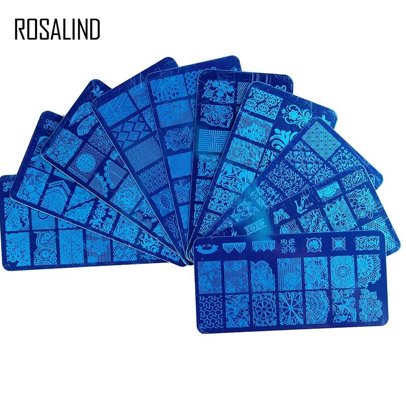 Лак для ногтей ROSALIND, прозрачный силиконовый скребок для стемпинга с крышкой, пластины-шаблоны, инструмент для геля для ногтей