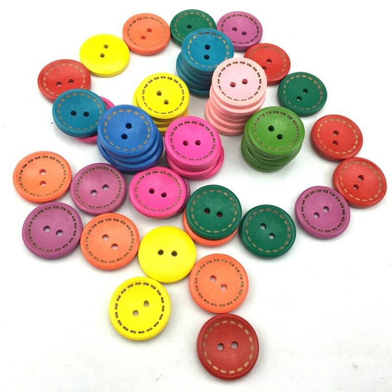 Lote de 50 unidades de botones decorativos redondos Multicolor de 15mm para costura, accesorios de costura para niños, botones de madera para ropa