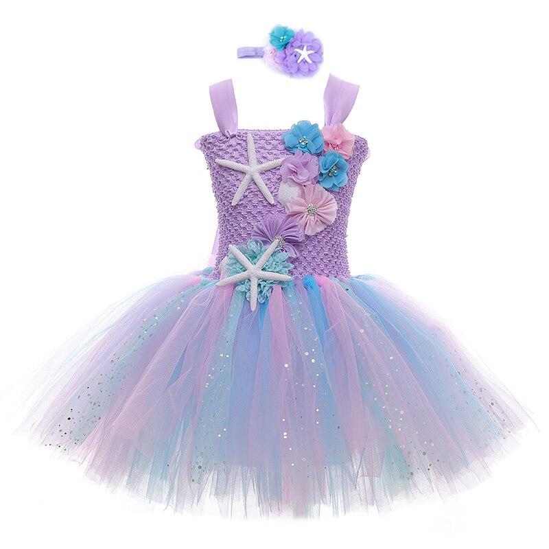 Girls Mermaid Tutu Dress Ariel Princess Birthday Party Dresses For Girls Starfish Halloween Cosplay Kids Mermaid Costume 1-12Y