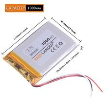 3Lines 1000 mAh 3,7 V Lithium-Polymer-Akku Li-Ion Batterie 503450 543450 523450 für Smart Phone DVD MP3 MP4