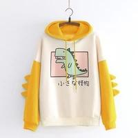 kawaii hoodie winter loose fashion harajuku japanese fun dinosaur print stitching sweatshirt cute cartoon tops women streetwear