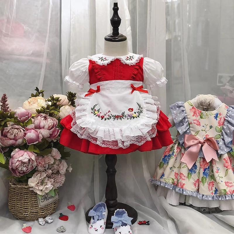 فستان الأميرة لوليتا أحمر عتيق للفتيات الصغيرات, فستان الأميرة لوليتا باللون الأحمر والدانتيل مناسب للحفلات واعياد الميلاد والكريسماس