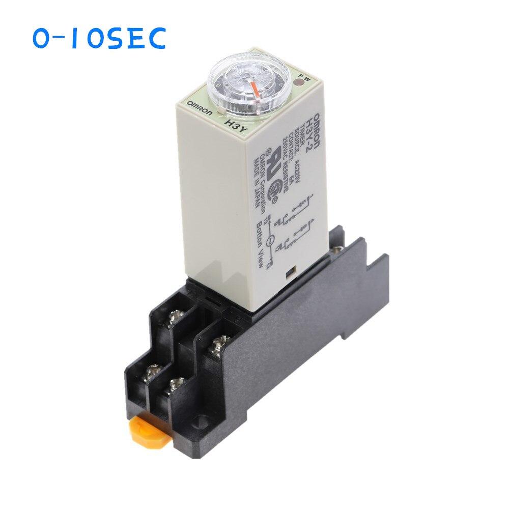 1pcs H3Y-2 AC220V Delay Timer Relay Tempo 110 V/DC12V 24V 5A 0-10 SEC com base