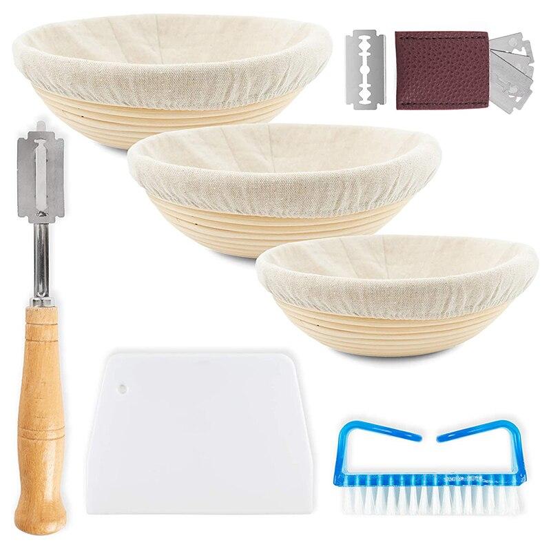 Banneton cesta de prueba de pan artesanal, Juego de 3 cuenco de mimbre hecho a mano para levantamiento de masa con tela de lino, pan, cepillo rascador