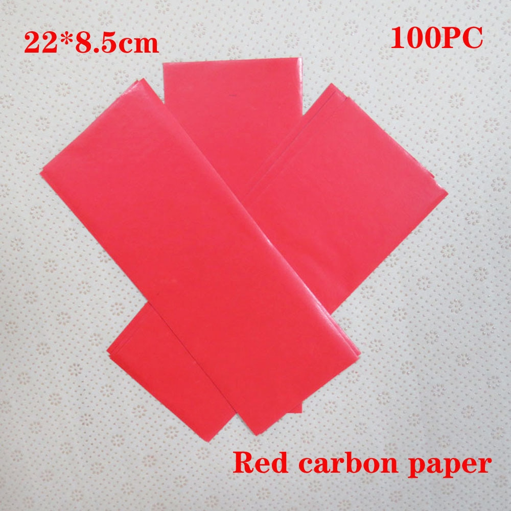 красная копировальная бумага углеродистая восковая бумага переходная бумага красная двухсторонняя копировальная бумага 22 * 8.5cm 100PC