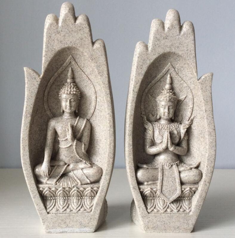 Venta Pequeño Buda estatua de monje figurita Tathagata India Yoga Mandala manos esculturas decoración del hogar Accesorios adornos
