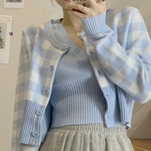 Women's Knitted Cardigan Spring New Retro Sweet Western Style Youthful-Looking Fresh Blue Plaid Shor