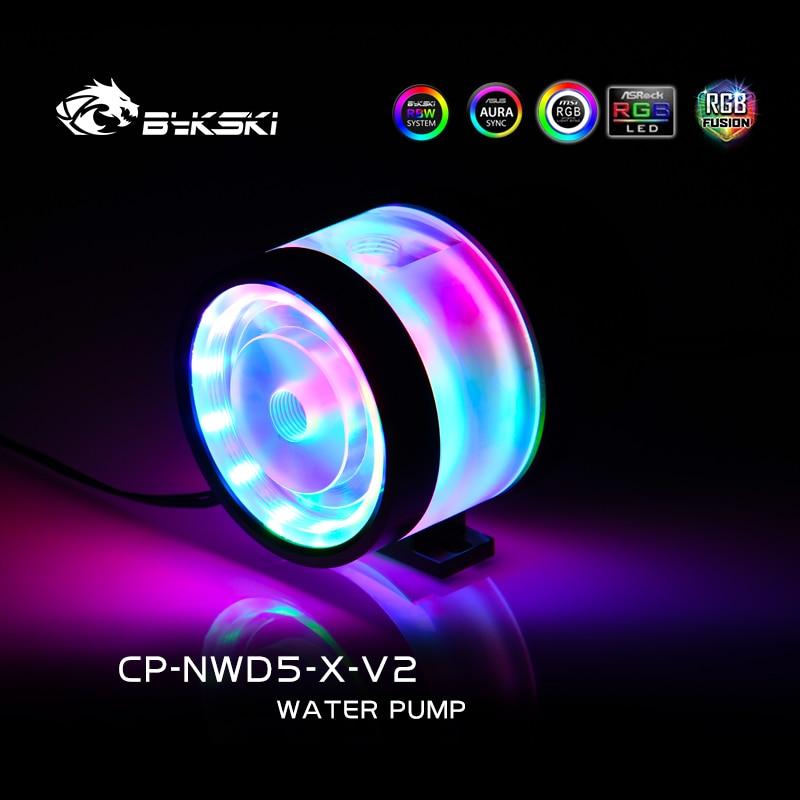 Bykski CP-NWD5-X-V2 D5 مضخة تدفق متر أقصى تدفق رفع 3.8M 1100L/H سيمفونية مضيئة مضخة 5V ARGB للكمبيوتر مياه التبريد