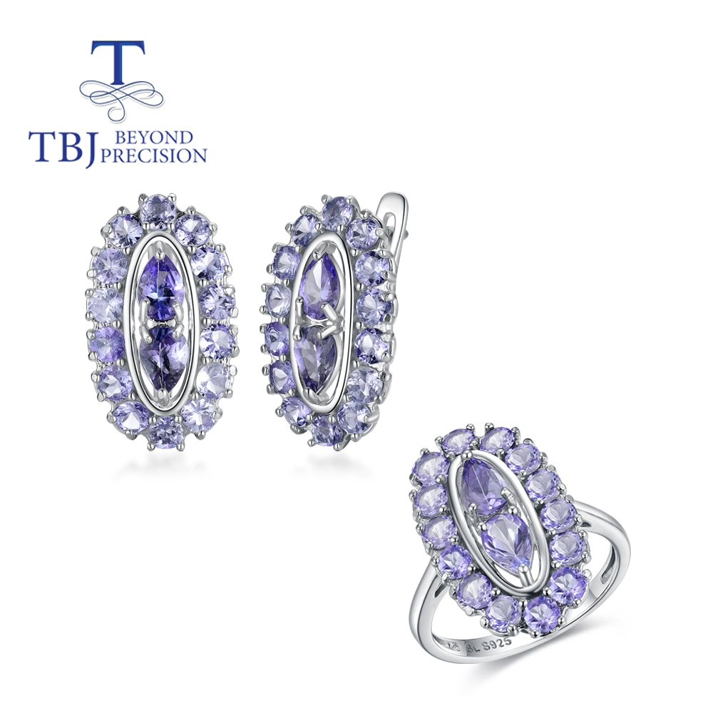 Review Natural light blue Tanzanite gemstone Jewelry set 925 sterling silver clasp earring Ring precious stone jewelry for women mom