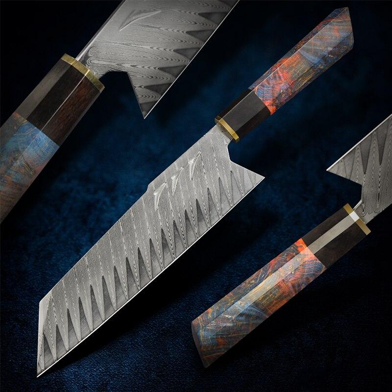 FZIZUO-سكين سانتوكو من الفولاذ الدمشقي ، أداة طاهي تانتو يابانية مصنوعة يدويًا مع غمد ، سكين بونكا لتقطيع الخضار ، 8 بوصات