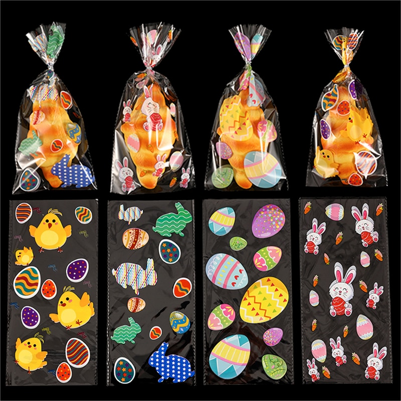 50pcs Easter Plastic Bags Candy Cookies Wrapper Cute Rabbit Chick Pattern For Happy Easter Holiday K