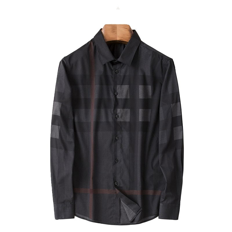 Autumn and Winter men shirts slim fit long sleeve High Quality Fashion Youth Casual Plaid Loose  Dress Top retro cut out plaid fit and flare dress