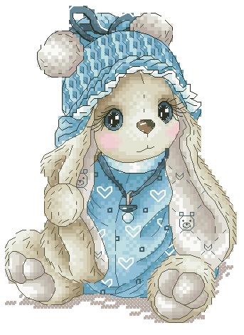 Kit de punto de cruz con imagen bordada en un solo color, par debajo del árbol, punto de cruz, punto de cruz, conejo azul bebé