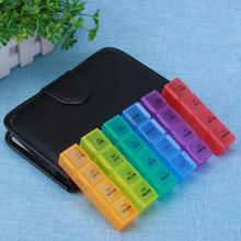 Tragbare 28 Grids Pillen Box Halter Tablet Pille Fall Lagerung Organizer Gesunde Pflege Werkzeug Regenbogen Farbe mit PU Tasche
