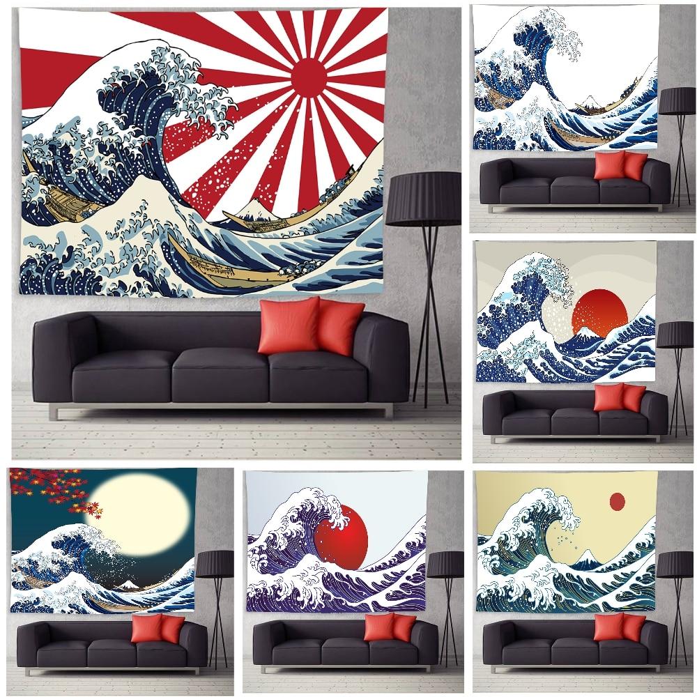 Психоделический гобелен с морскими волнами, Элегантный Закат, гобелен, 3D гобелен с большой волной, японский гобелен для комнаты