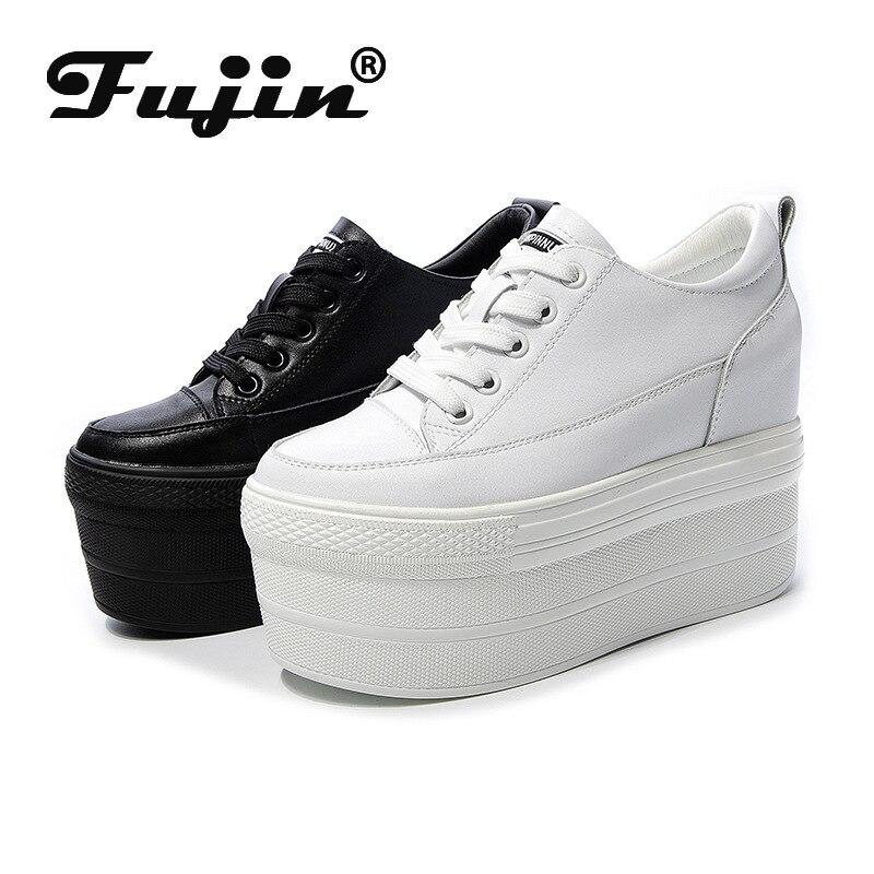 Fujin 2021 حذا فردي للسيدات جديد الخريف المرأة منصة جلدية حذاء أبيض موضة تنفس مصعد حذاء كاجوال الدانتيل متابعة