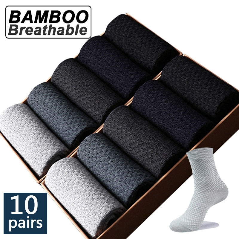 High Quality 10 Pairs/lot Men Bamboo Fiber Socks Men Breathable Compression Long Socks Business Casu