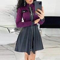 2021 new stand collar long sleeves mini dress casual autumn winter fashion pocket pu leather dress elegant slim dress