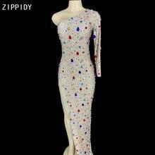 Sparkly Multi-colore di Vetro Strass Donne di Lunghezza del Vestito Di Compleanno Celebrare Vestito di Un Manicotto Abiti Dancer YOUDU