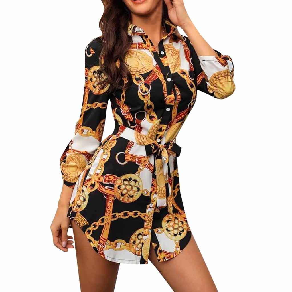 Women Long Sleeve Chain Print Shirt Dress Ladies Casual Mini Dress Платье 2021 Женское Платье Vestido De Mujer Dress Women