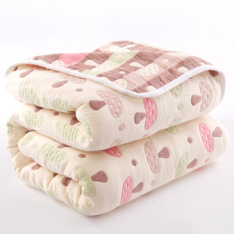 150*120cm 100% Cotton Quilts Baby Blanket for Newborn Cartoon Pattern Bed Sheet Children's Quilt 6 Layers Baby Quilt Blankets