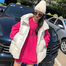 Glossy Down Cotton Vest Women 2021 Winter New Korean Style Loose Cotton Padded Jacket Waistcoat Vest