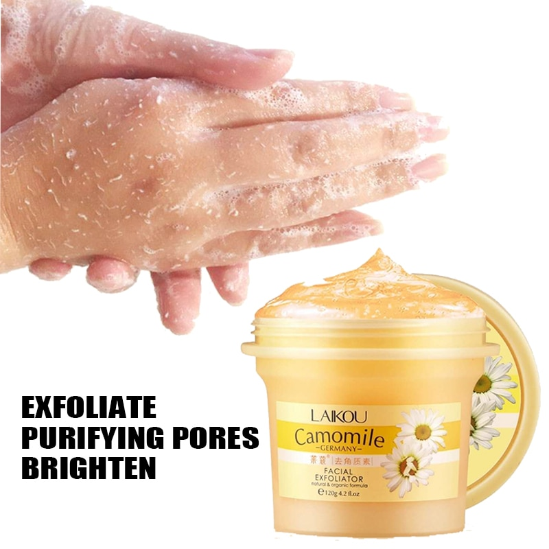 LAIKOU  Camomile Natural Organic Facial Exfoliator   Scrub Peeling Cream Face Gel Skin Care Body Scrub Cream 120g недорого