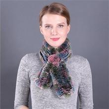 IANLAN Fashion Women Real Fur Scarves Flower Style Knitted Rex Rabbit Fur Muffler for Ladies Winter