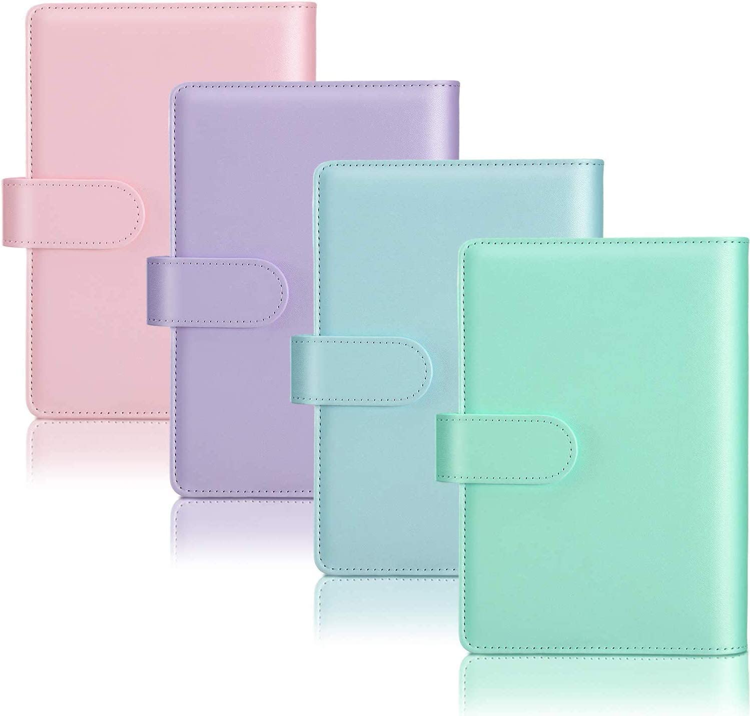 4 Pieces of A6 PU Artificial Leather Notebook Binder Loose-Leaf Can Be Filled With 6-Ring Binder Cover With Magnetic Closure
