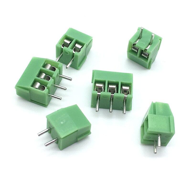 20 unids/lote KF350-3.5-2P KF350-2P Terminal 300V 10A tornillo 2Pin recta de 3,5mm Pin PCB tornillo conector de bloque de terminales 24-18AWG