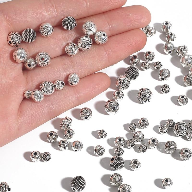20-30 Uds., accesorios de joyería DIY de Color plateado, cuentas espaciadoras de Metal con forma de flor, abalorios redondos con agujero, accesorios para pulsera