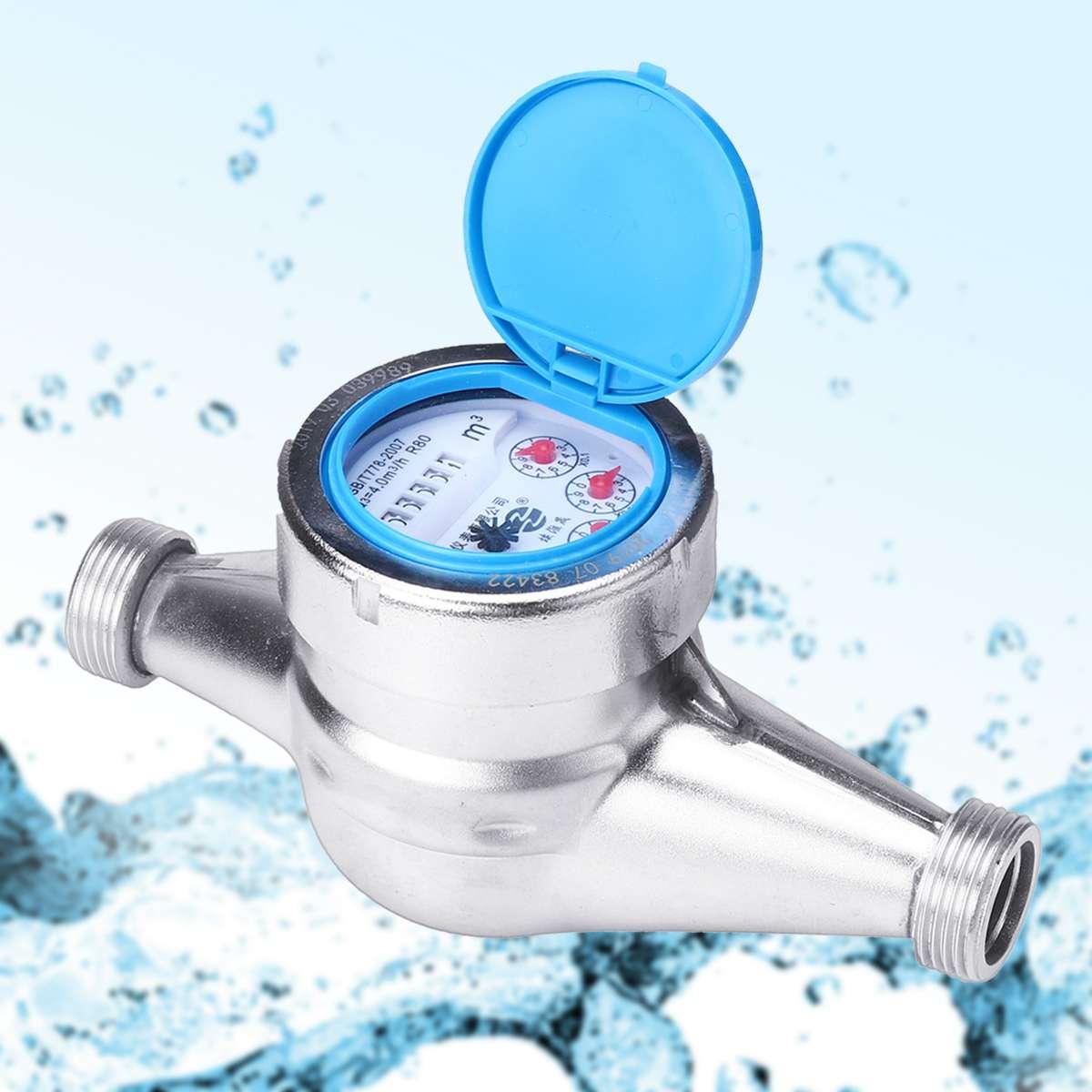 De acero inoxidable de medidor de agua de tipo húmedo frío medidor de agua de plástico del tipo Rotor de medición del medidor grifo encimera de casa Garde herramientas 15mm