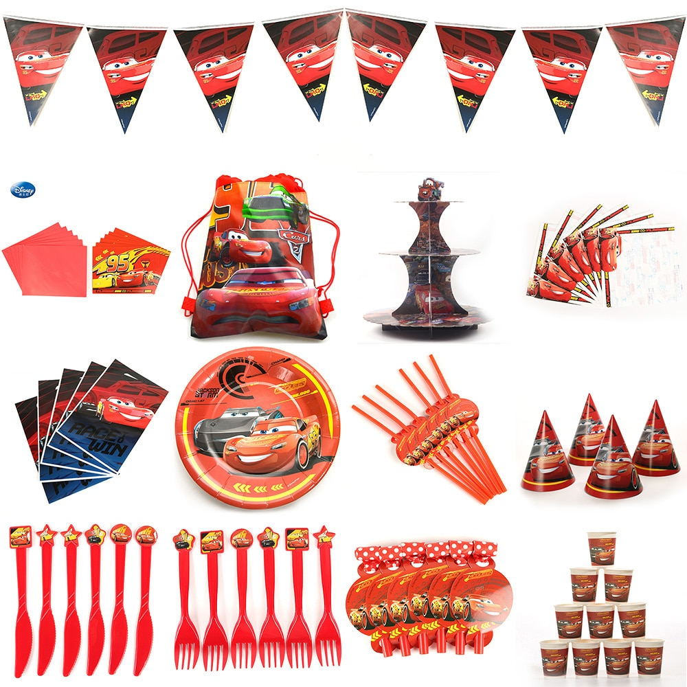 Beautiful Cars Kids Birthday Party Decoration Set Cars Party Supplies Decoration Baby Happy Birthday Party Pack