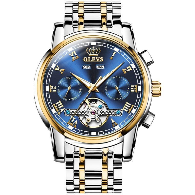 Self Winding Mens Watch Tourbillon Full-Automatic Waterproof Mechanical Watch Multifunctional Men's Watch Mens Watch