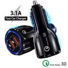 Quick Charge 3.0 QC 3.0 Car Charger Fast Charging GPS Dual USB Car-Charger For iPhone 11 X Samsung D