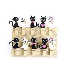 10 stücke Kawaii Holz Papier Clip Für Tasche Japanischen Katze Holz Clips Mit Hanf Seil Mini Nizza Lebensmittel Clip