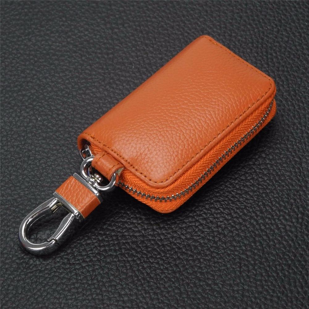 Men Card Holder Wallet Genuine Leather Zipper Clutch Bag Fashion Car Key Wallet For Soueast Dx7 V3 V5 V6 V6-Cross Lioncel Dx3