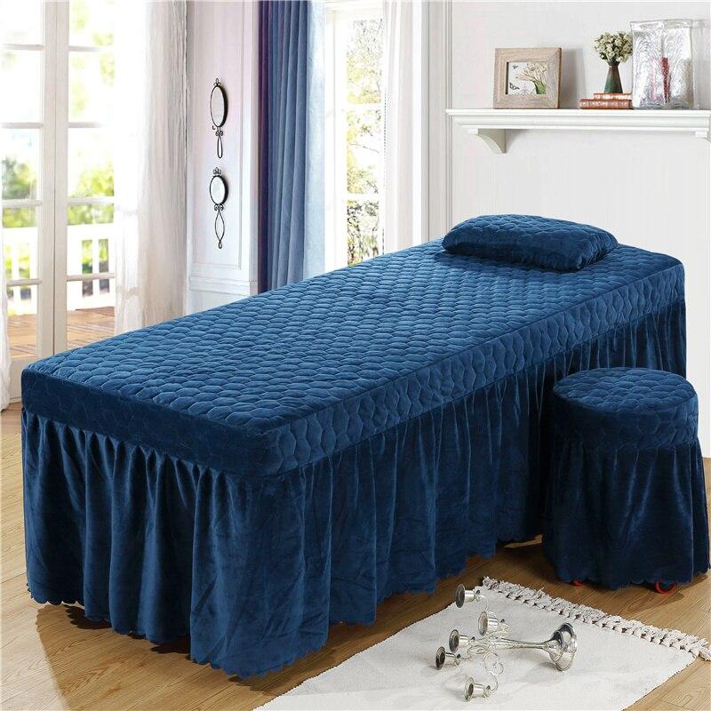 حجم مخصص 1 قطعة لينة صالون تجميل تنورة نوم المخملية الكريستال بلون السرير انتشار ل تصفيف الشعر صالون 13 الألوان المتاحة # a