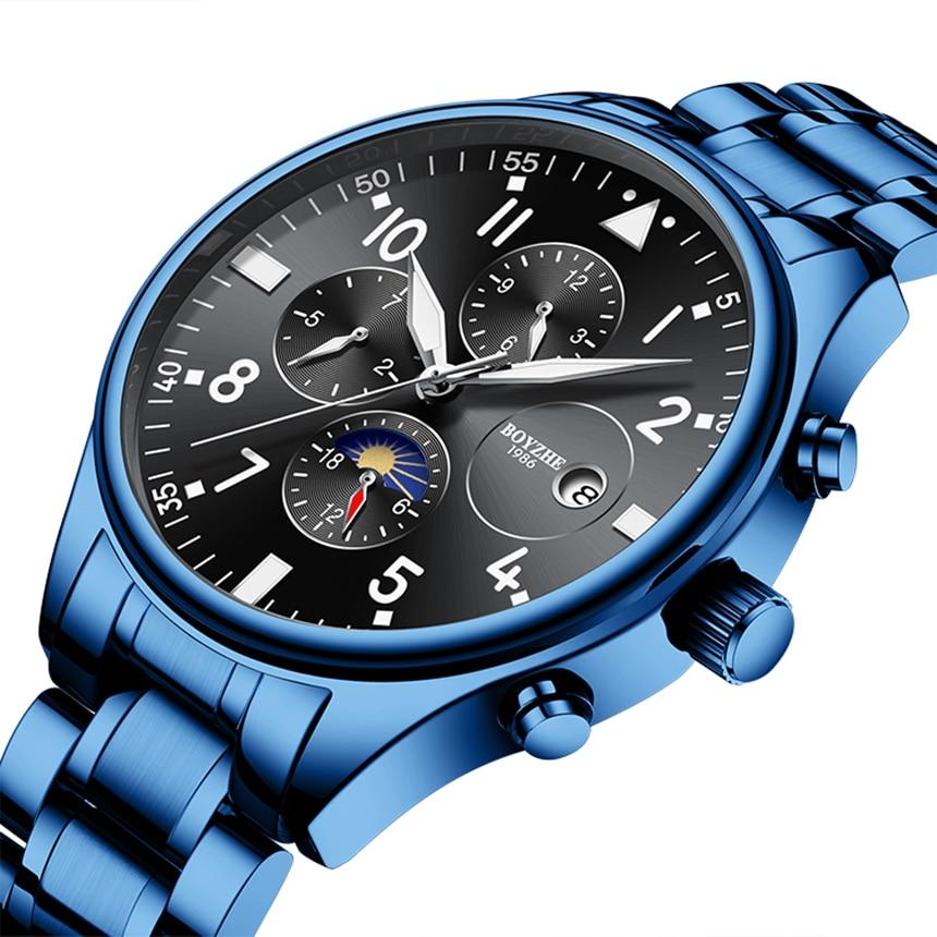 Boyzhe preto azul homem relógios mecânicos masculino moonphase data banda de aço inoxidável relógio de pulso automático erkek kol saati 2020