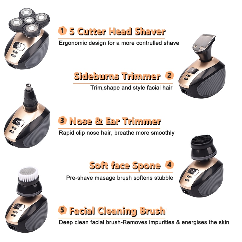 HA-Life 5 In 1 4D Men's Rechargeable Bald Head Electric Shaver Heads Beard Nose Ear Hair Trimmer Razor Clipper Facial Brush enlarge