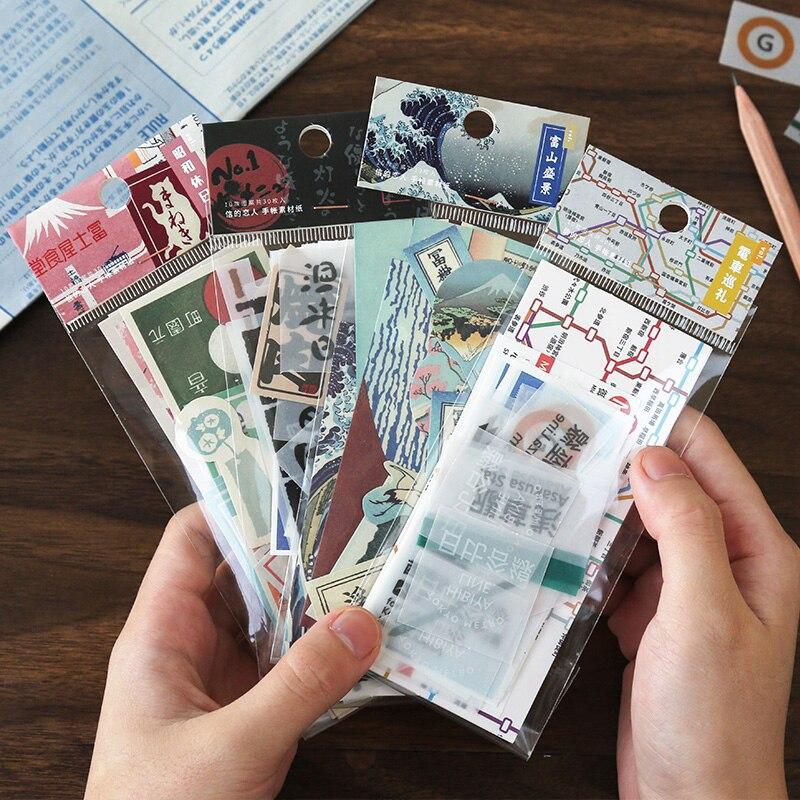 30 Uds Retro viaje sello Bullet diario notas recordatorias adhesivas almohadilla diario japonés papelería álbum de recortes decorativo N veces pegajoso