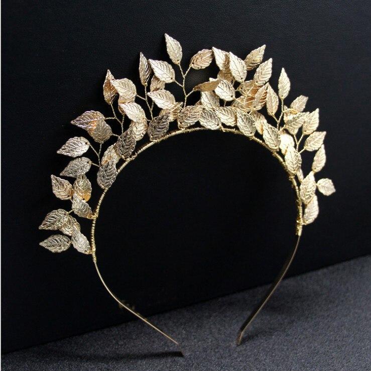 Tiara de diosa griega europea, diadema con diseño de hojas doradas, diadema para el pelo, Tiara nupcial para boda, accesorios para el cabello para mujer