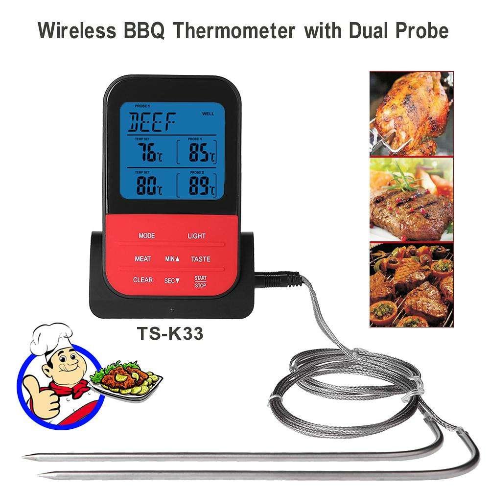 Termómetro de cocina para barbacoa, temporizador, medidor de temperatura para alimentos, medidor de temperatura con sonda, herramienta para Picnic, fácil de transportar, herramientas para barbacoa