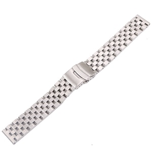 Rolamy 22mm Silver Solid Links Replacement Watch Band Strap Bracelet Double Push Clasp For Seiko