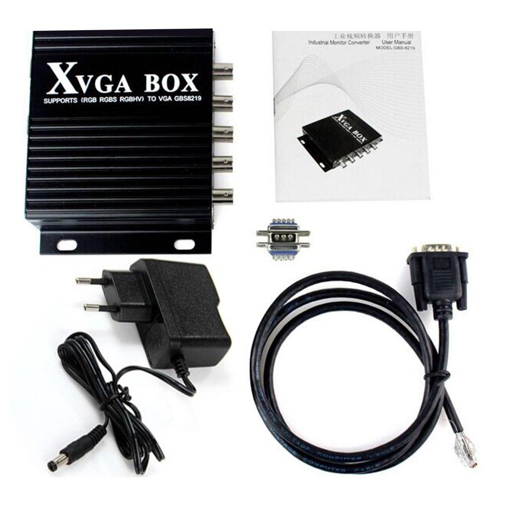 محول فيديو مع قابس أمريكي ، XVGA Box RGBS RGBHV MDA CGA إلى VGA ، شاشة صناعية ، محول طاقة ، أسود ، جديد