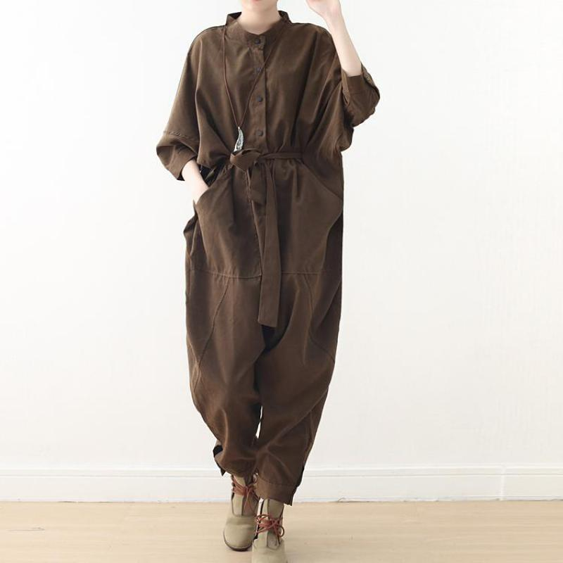 Johnature Safari Style Jumpsuits Full Length Loose Solid Sashes Pockets Button 2021 New Spring/Summen Cotton Women Jumpsuit