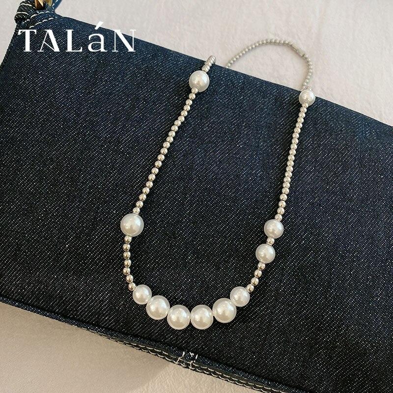 Collier de perles en titane et acier, de haute qualité, de luxe, chaîne à clavicule, de Style coréen, Simple et populaire