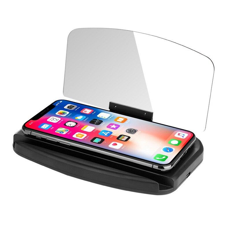 Hud Дисплей с зеркальной проекцией цифровой автомобильный скоростной проектор бортовой компьютер топливный пробег Беспроводная зарядка