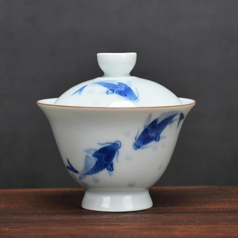 ارتفاع القدم الأبيض الخزف غطاء وعاء فنجان شاي كبير واحد Jingdezhen السيراميك الكونغفو طقم شاي مكافحة الساخن اليد صنع الشاي Gaiwan